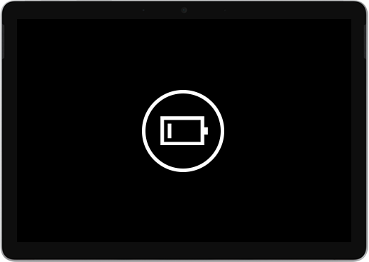 A black screen with a low battery icon.
