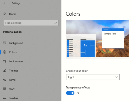 The Windows transparency option in the personalization settings.
