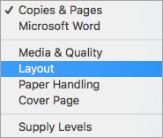 Selecting Layout in the Print dialog box