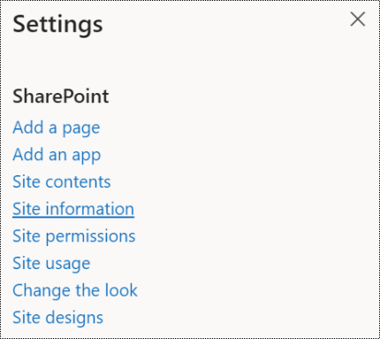Screenshot showing the SharePoint Site information menu option.