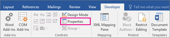 The Properties option is highlighted on the Developer tab.