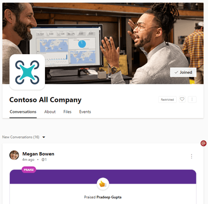 Restricted All Company posts for Yammer on the web