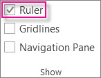 The check-box to show the rulers.