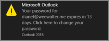 An image of the notification the user sees when their password is going to expire.