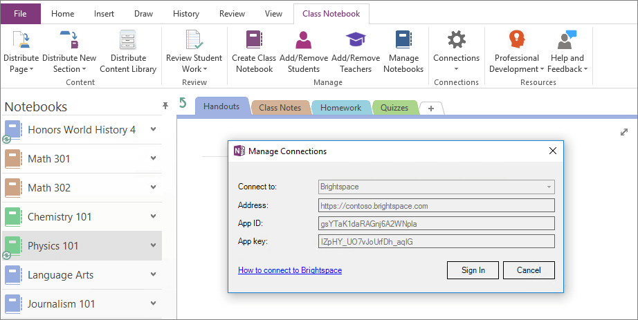 Screenshot of the Connections dialog of the OneNote Class Notebook add-in with Group Policy enabled.