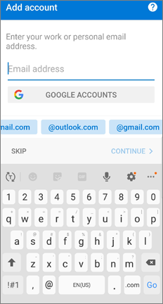 Add account page with options to add an Outlook.com or Gmail account
