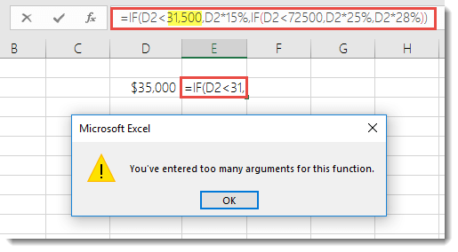 Excel message when you add comma to a value
