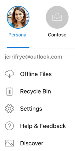 Screenshot of switching between accounts in the OneDrive app on iOS
