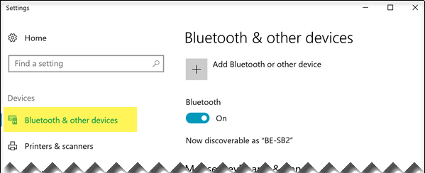 Ensure that the Bluetooth & other devices option is selected on the left side