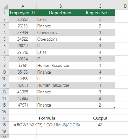 Example of ROWS and COLUMNS function to count the number of cells in a range