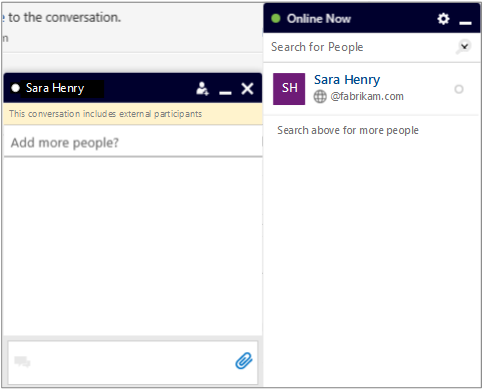 Yammer Now chat with external participant