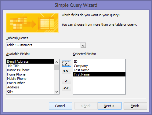 In the Simple Query Wizard dialog box, select the fields you want to use.