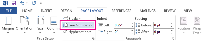 The Line Numbers option is on the Page Layout tab.
