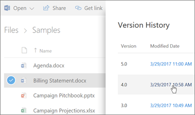 Screenshot of the version history for a OneDrive for Business file appearing in the Details Pane