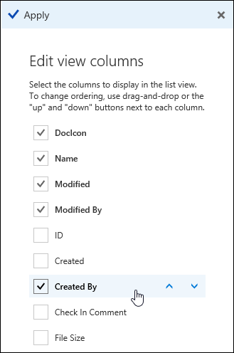 Arrange columns in a document library