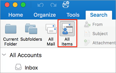 Find items by doing a basic search in Outlook for Mac