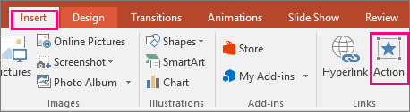 Shows Insert > Action button in PowerPoint