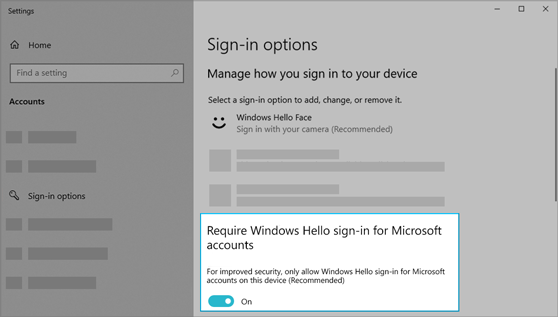 The option to use Windows Hello to sign in for Microsoft accounts turned on.