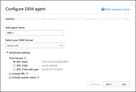 Select your SIEM format and advanced settings