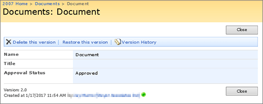View a version dialog