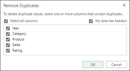 Remove duplicates in Excel Online from Data > Data Tools > Remove Duplicates.