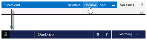 Select OneDrive on SharePoint to go to OneDrive for Business on Office 365