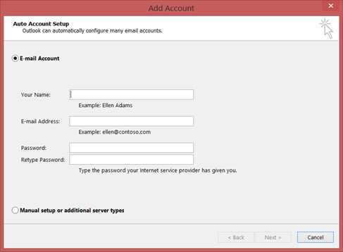 The Add Account dialog box