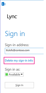 Lync signin with delete sign info button hilited