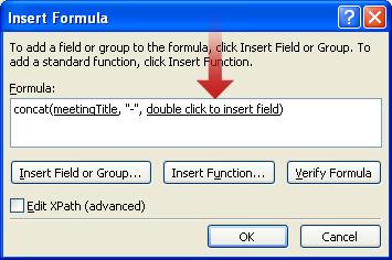 Double-clicking to insert another field to use as part of the form name