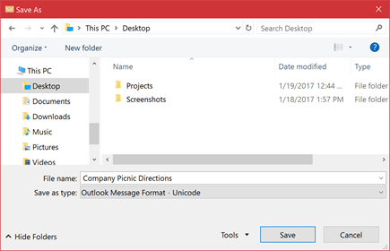 You can save an existing email message as a file.