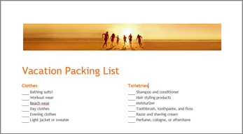 A packing list template for Word