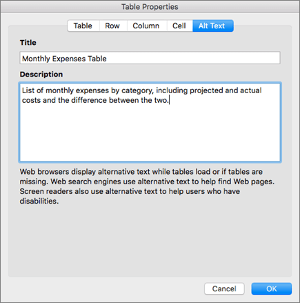 Screenshot of the Alt Text tab of the Table Properties dialog describing the selected table