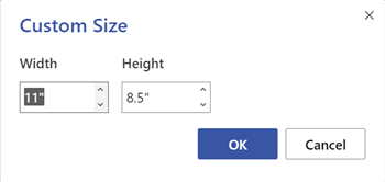 The Page Size dialog box. Specify the width and height in inches or centimeters.