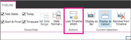 Task timeline lock width option on the Timeline tab