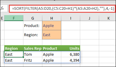 Using FILTER with the SORT function to return all values in our array range (A5:D20) that have Apples AND are in the East region, and then sort Units in descending order.