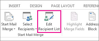 Screenshot of the Mailings tab in Word, showing the Edit Recipient List command as highlighted.