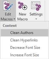 The Edit Macros menu in Onetastic for OneNote