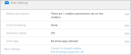 Screenshot: Convert user mailbox to shared mailbox