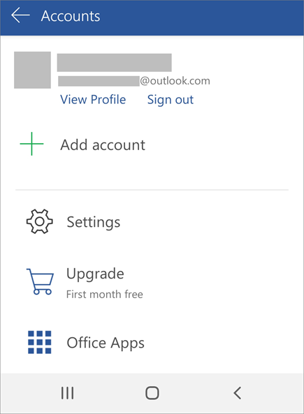 Shows the option to Sign out of Office on an Android device