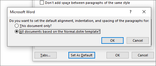 Default line spacing dialog