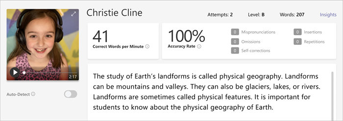 Screenshot of the review pane of Reading Progress,
