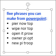 Formatting in a PowerPoint text box