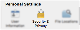 The Security & Privacy button in the Application Preferences dialog.