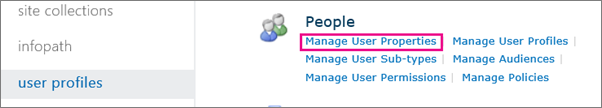 Manage User Properties link under Admin user profiles.