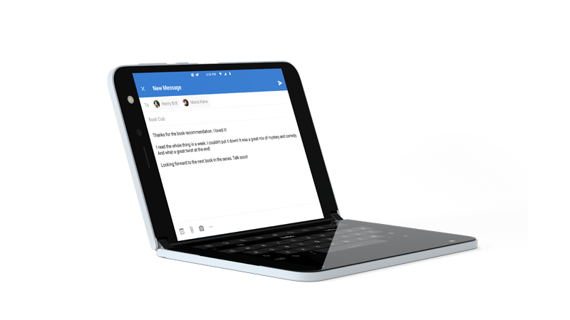 Outlook open with full-screen keyboard