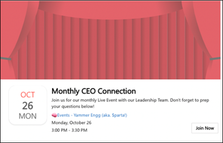 Screenshot showing screen for joining a live event