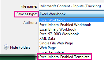 Choose Excel Macro-Enabled Template.