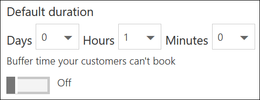 Screenshot: Set the default duration for the service