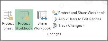 Protect Workbook option on the ribbon is highlighted in a protected workbook