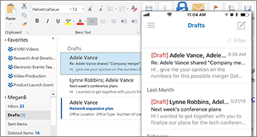 Drafts folder on desktop and on phone